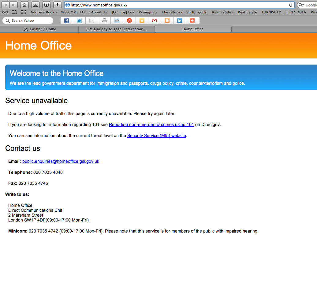 Anonymous: Home Office UK http://www.homeoffice.gov.uk/ DOWN as ...